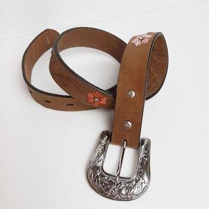 Nocona Leather Belt Western Floral Embroidered